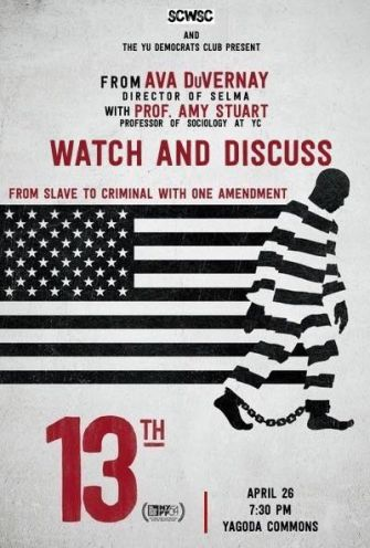 """A flyer from the club's screening and discussion of the documentary """"13th."""""""