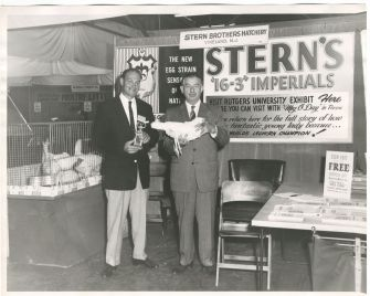 In Her Pomp: Meg O'Day on display with her trophy at the Stern stand.