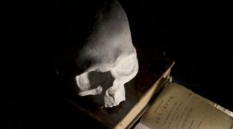 200 Years Later: A moulding of the skull of French writer the Marquis de Sade on a 1801 edition of 'Justine, The Misfortunes of Virtue' (Justine - Les malheurs de la vertu).'