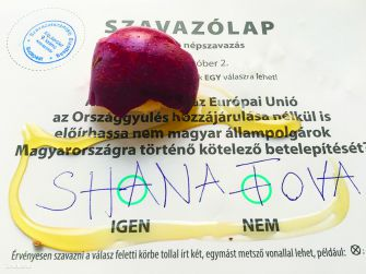'Happy New Year': One Jewish voter expressed rejection of a government sponsored anti-immigrant referendum held near the Jewish new year by leaving an apple and honey on the ballot and a traditional new year's greeting.
