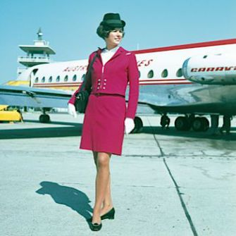 Go Red: The Austrian Airlines uniform circa 1970.