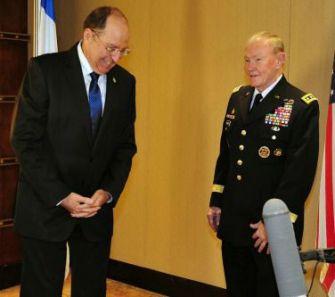 General apologies: ex-Gen. Moshe Yaalon (left), Gen. Martin Dempsey