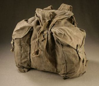 Survivor?s Backpack: Boris Kacel of Skokie, Ill., had this backpack when he escaped from Buchenwald. He donated the pack to the new Illinois Holocaust Museum & Education Center.