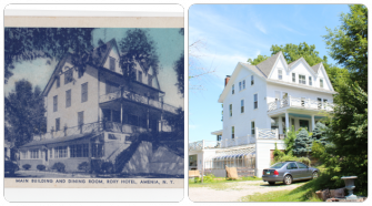 Now and Then: Left, a postcard photograph of the Roxy Hotel from Arnold S. Rothstein's collection. Right, the Roxy today.