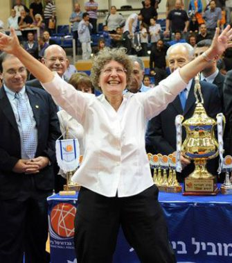 Victorious: Rachel Ostrowitz, coach of the women?s basketball team, Electra Ramat Hasharon, after winning the national championship in March.