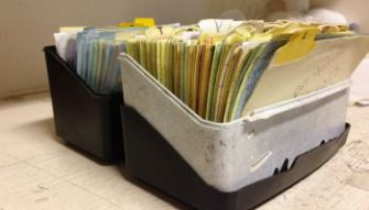 All the Single Ladies : A box of index cards with names of Orthodox singles sits on matchmaker Rochel Bryski?s shelf.