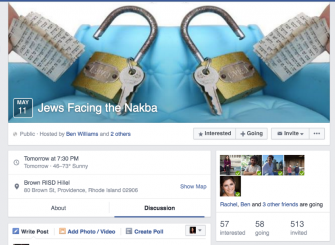 Brown RISD Hillel originally sponsored the event, advertising it on the organization's Facebook page.