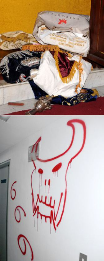 Sacrilege: Vandals desecrated Tifferet Israel Synagogue in Caracas in January 2009, soon after President Hugo Chavez denounced Israeli military actions in Gaza and demanded that Venezuelan Jews take a stand against them.