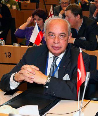 Turkish Jewish businessman Cefi Kamhi representing his country at the European Jewish Parliament.