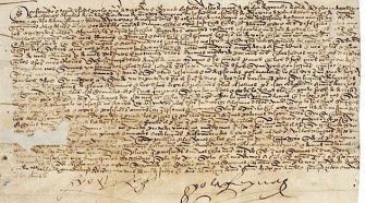 Edict: An order signed by Isabella and Ferdinand signed in June 1492 making all Jewish communal property the possession of the crown. The document is kept in the municipal archive in Toledo.