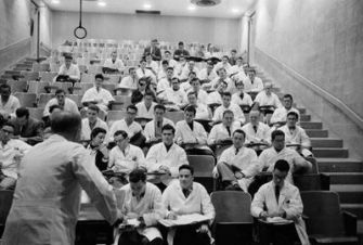 Lecture Hall: A professor teaches medical students from the class of 1959 in this photograph taken in 1955.