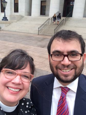 Interfaith Allies: Rev. Laura J. Young and Rabbi Eric Woodward stand outside the Ohio Statehouse.