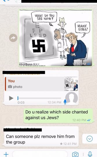 A screenshot of a community Whatsapp group; Shaya Bodansky was asked to leave for criticizing President Trump.