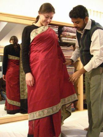 Wrapped: Bukspan tries on a sari during a trip to India.