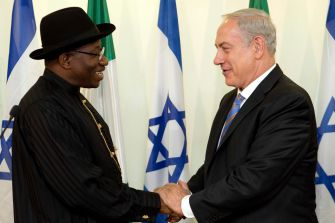 Allies: Israeli Prime Minister, left, with former Nigerian president Goodluck Jonathan, with whom diplomatic ties were stronger.