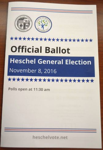 A mock ballot at the Heschel day school near Los Angeles.