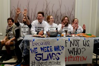 """Anti-occupation group IfNotNow conduct a """"liberation Passover seder."""""""
