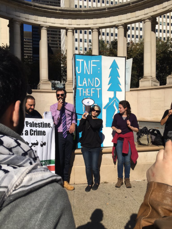 Political Outrage: Geller protests in Chicago in October against the land acquisition policies in Israel of the Jewish National Fund.