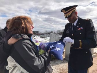 An Honorable Life: Sam was buried with full military honors at New Jersey's Woodbridge Cemetery.