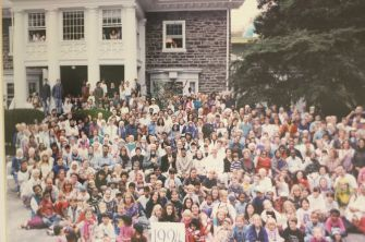 A group photo at the Fellowship during the annual October reunion in 1994. From the early years, the communtiy has fastidiously documented their own history through photos, videos and audio recordings.