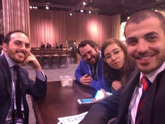 IfNotNow members taking a selfie before dropping banners at AIPAC conference. From left: Gabe Kravitz Daniel Michelson-Horowitz, Becca Kahn Bloch, Noah Westreich
