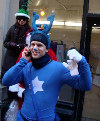 SantaConVert? Jewdolph the blue-nosed reindeer at SantaCon 2008 in New York.