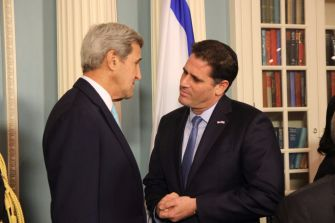 Secretary of State John Kerry and Israeli ambassador to Washington Ron Dermer after signing the U.S.-Israel military aid agreement