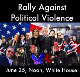 An ad for the Rally Against Political Violence features Loomer and Posobiec standing on either side of Republican operative Roger Stone.