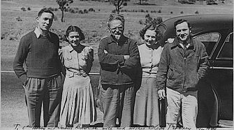 American Admirers: Leon Trotsky (center) with American Trotskyites Harry De Boer and James H. Bartlett and their spouses in Mexico, 1940.