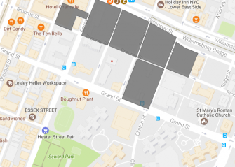 The red dot marks the location of Beth Hamedrash Hagodol. The gray shapes cover the footprint of the Essex Crossing development.