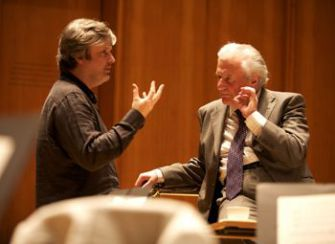 ?Good Friday Reproaches?: James MacMillan, left, and Colin Davis discuss the finer points of music performance. MacMillan?s new work portrays Jesus in a fit of temper.