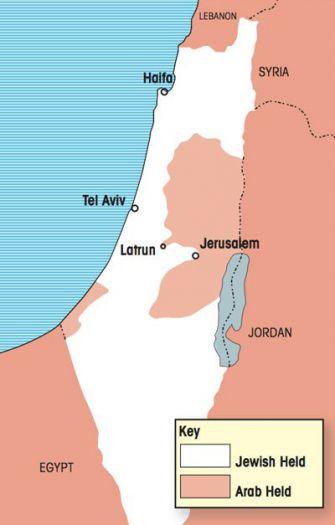 Divisions, divisions: UN maps show the narrow corridor between Tel Aviv, Latrun and Jerusalem.