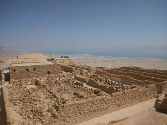 A view of Masada's northern palace, built by Herod in the first century BCE, with the Dead Sea in the background.