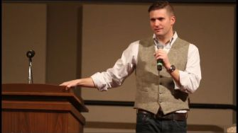 New Face: White nationalist and leading 'alt-right' figure Richard Spencer addresses a crowd at Texas A&M University in December.