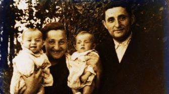 Out of Poland: The author?s grandmother holds her newborn twin daughters with her husband in Italy in 1946, two years before the family moved to Detroit.