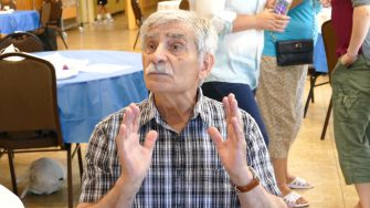 """Naum Novisiletsky, 89, said that in the Soviet Union, """"we had socialism up to here."""""""