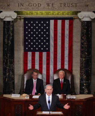 Israeli Prime Minister Benjamin Netanyahu speaks about Iran in the House chamber at the U.S. Capitol in 2015.