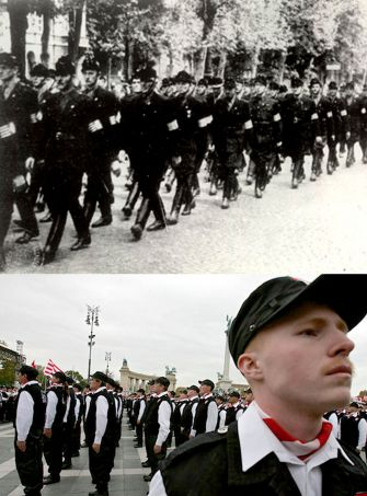 Above, the Arrow Cross militia marches in Budapest during World War II. Below, the Hungarian Guard militia assembles in Budapest at Hero's Square in October 2007.