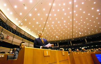 Historical Label: Orbán addresses the European Parliament April 26, when he sharply criticized Soros, describing repeatedly as a 'financial speculator' guilty of 'ruining the lives of millions.'