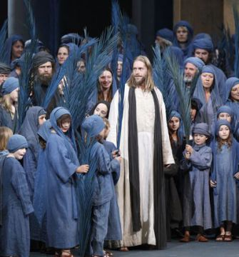 It Takes a Village: Andreas Richter, center, rehearses the role of Jesus with other local residents in a centuries-old passion play that critics say retains antisemitic features.