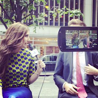 Woman on the Street: Allison Josephs (left) while shooting a video for her 'Jew in the City' blog.