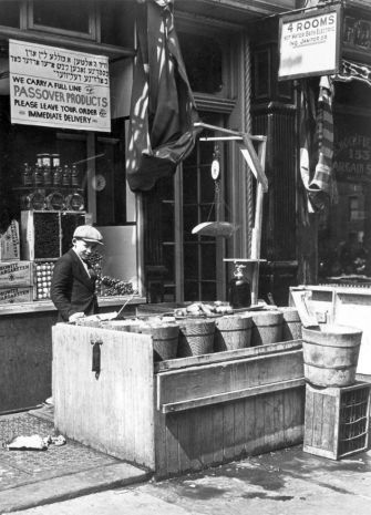 Brined Cukes: A pickle stand outside a Jewish grocery store in New York City, circa 1925.