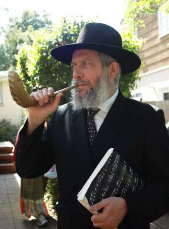 Blowing the Shofar: Rabbi Yehuda Ferris made the traditional call from a hospital room in Berkeley, Calif.