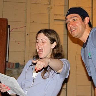Bar and an audience participant perform a rap titled ?David and Goliath? at Camp Ramah Berkshires.