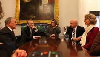 Concerned: Gabby Giffords, right, meets with New York Mayor Michael Bloomberg at City Hall.