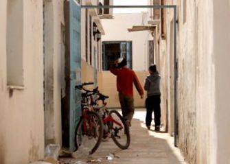 Jewish boys head home after school on the island of Djerba.