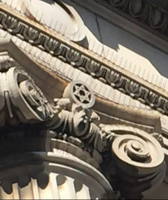 A Star of David decorates a column of Harlem's Mt. Olivet Church, formerly the Temple Israel synagogue.