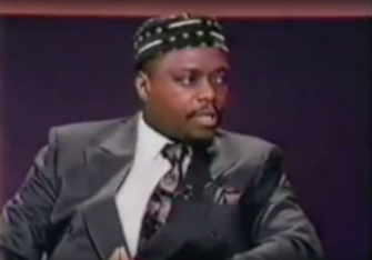 Credentials: Rabbi Funnye, in the 1990s, speaks on a television program about African American Jews and black-Jewish relations.