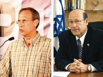 Parliamentary Polemics: Knesset Member Nachman Shai, left, lambasted anti-NIF proposals by lawmaker Otniel Schneller.
