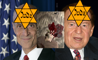 An image posted on 4chan picturing Michael Chertoff, left, Sheldon Adelson, right, and a graphic image that allegedly depicts Stephen Paddock dead from a self-inflicted gunshot wound.